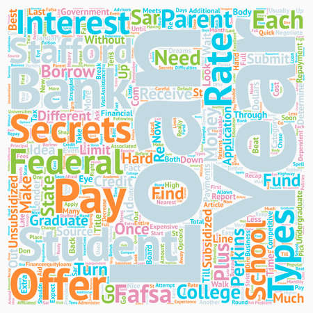 How to Determine Which of the Types of Student Loans is Best For You text background wordcloud concept Illustration