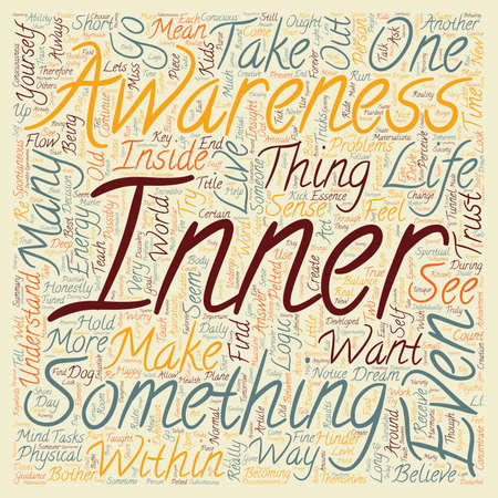 Inner Awareness text background wordcloud concept Illustration