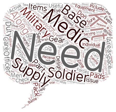 Is Your Military Medical Kit Adequately Stocked Don t Leave Base Without These Vital Supplies text background wordcloud concept Illustration