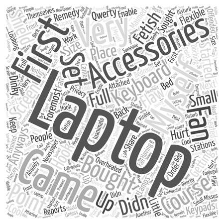 hook like: laptop accessories Word Cloud Concept Illustration