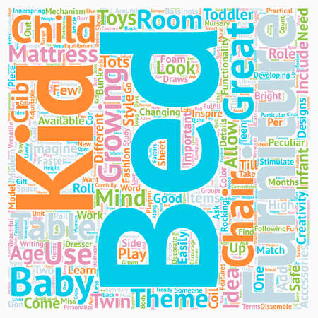 bedroom furniture: Kids Bedroom Furniture text background wordcloud concept Illustration