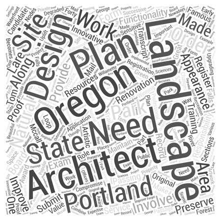 Landschapsarchitect in Oregon Word Cloud Concept Vector Illustratie