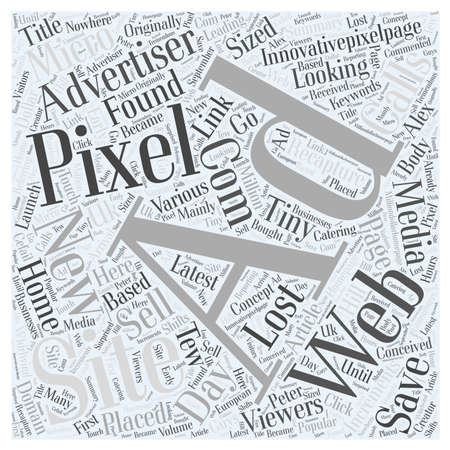 New and latest concept in Pixel Advertising Word Cloud Concept Ilustrace