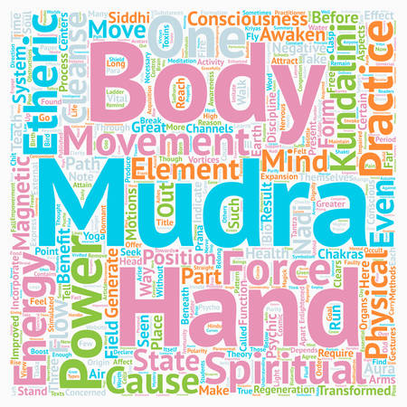 tantra: Mudras Hand Symbolism Mudra Power Part text background wordcloud concept Illustration