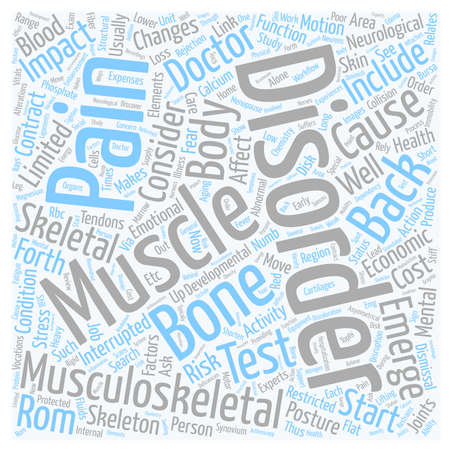 근골격계 장애 및 허리 통증 텍스트 배경 wordcloud 개념