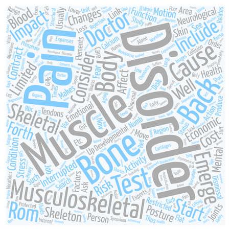 Aandoeningen van het bewegingsapparaat en rugpijn tekst achtergrond wordcloud begrip