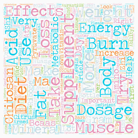 Recommended Supplements for Weight Loss text background wordcloud concept Illustration