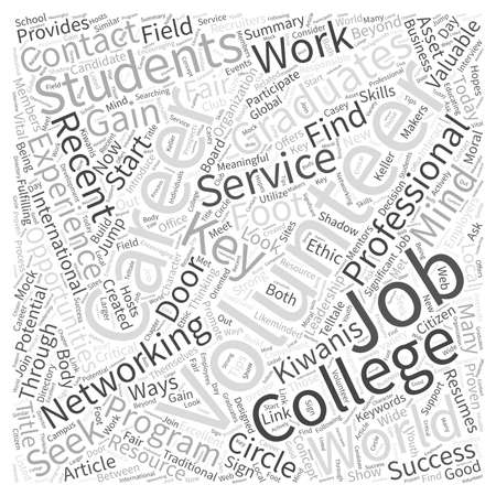 Networking And Volunteering Is Key For Career Minded College Students And Graduates Word Cloud Concept