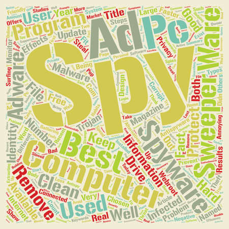 Recent studies show that out of PCs are infected with Spyware text background wordcloud concept