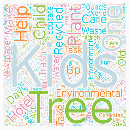 Kids And Trees Grow With The Environmental Three R s text background wordcloud concept