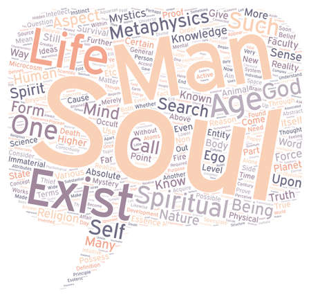 metaphysics: Mystery of the Soul Part text background wordcloud concept Illustration