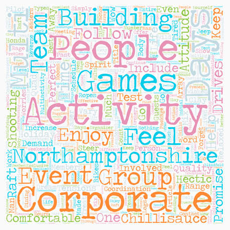 Multi activity days in Northamptonshire text background wordcloud concept Illustration