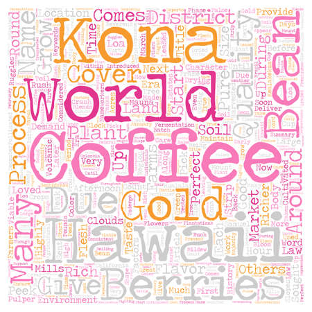 Kona Coffee Gold Of Hawaii text background wordcloud concept
