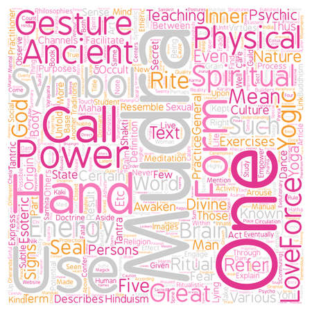Mudras Hand Symbolism What Are Mudras Part 1 text background wordcloud concept Illustration