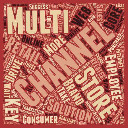 retailing: Multi channel retail keys to success text background wordcloud concept