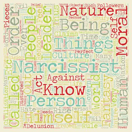Narcisistico Leaders testo background wordcloud concetto Vettoriali
