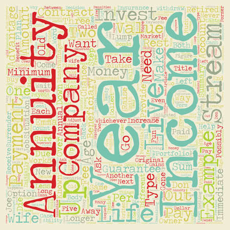 annuity: Retirement Income for Life text background wordcloud concept