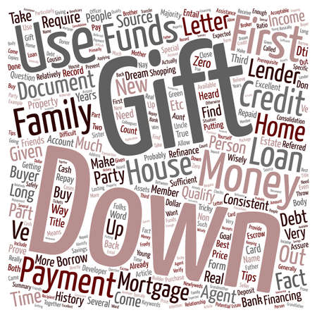 first time buyer: Refinance Mortgage Tips Down Payment With Gift Letter text background wordcloud concept Illustration