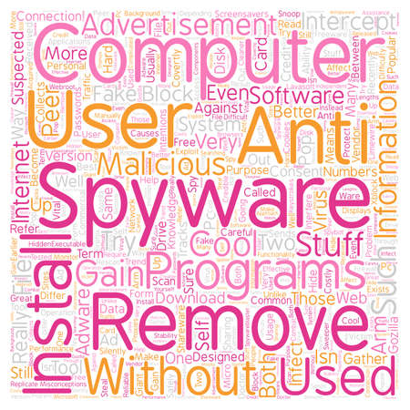 remove spyware2 text background wordcloud concept Illustration