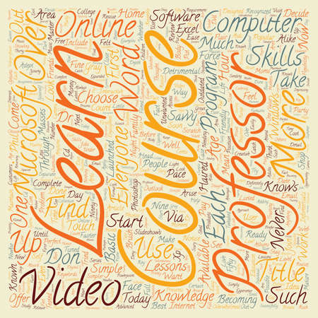 lookalike: Review Of The Video Professor Computer Course text background wordcloud concept Illustration