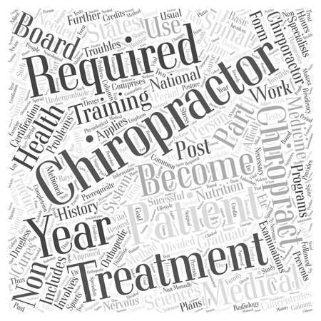 requirements to become a chiropractor Word Cloud Concept Illustration