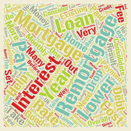 Remortgages The Helps and Hazards text background wordcloud concept
