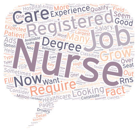 classified: Registered Nurse Jobs text background wordcloud concept