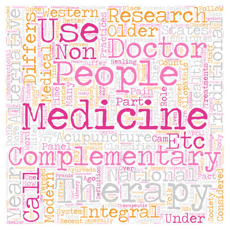 Role of Alternative Medicine in modern society text background wordcloud concept