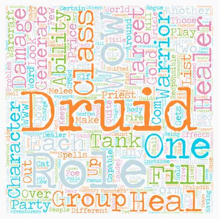 De rol van The Druid WOW tekst achtergrond wordcloud begrip