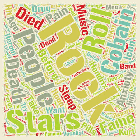Rock And Roll Death Toll Dead Before text background wordcloud concept