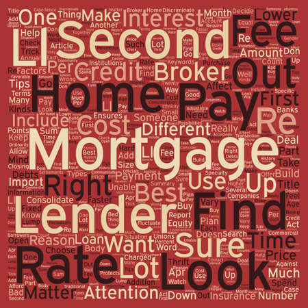 Second Mortgage Tips text background wordcloud concept Illustration