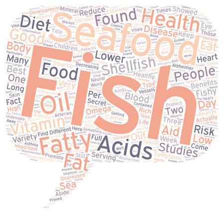 Seafood has some vitaly important health benefits text background wordcloud concept