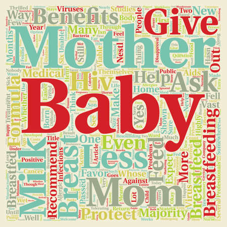 breastfeed: Should I Breastfeed My Baby text background wordcloud concept Illustration