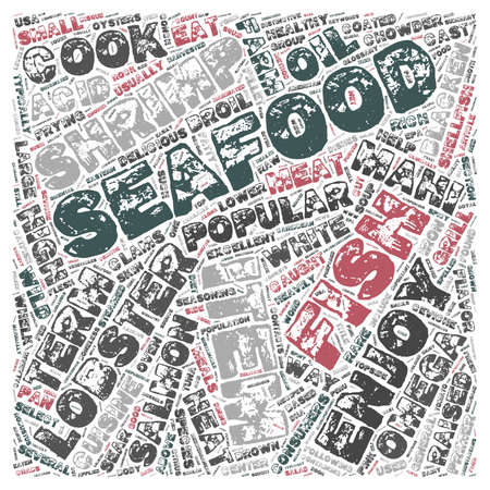 Seafood Glossary text background wordcloud concept