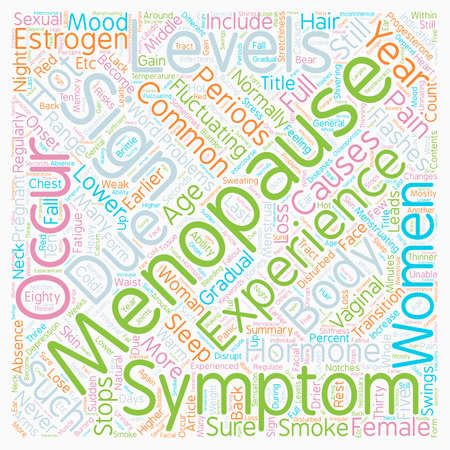 Signs And Symptoms Of Menopause text background wordcloud concept