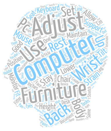 articles of furniture: Sort Your Computer Furniture Stay Fitter text background wordcloud concept