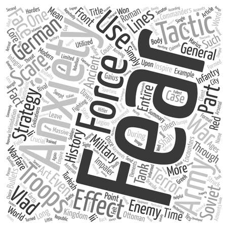 Scare tactics and the art of war text background wordcloud concept Illustration