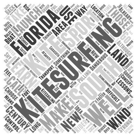 South Florida kitesurfing Word Cloud Concept Illustration