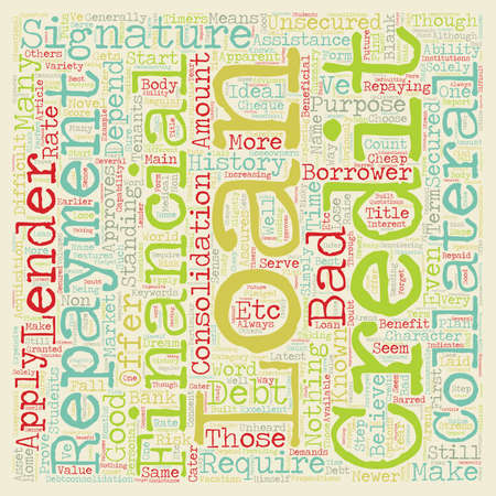 depend: Signature Loans A Blank Cheque to Your Name text background wordcloud concept Illustration