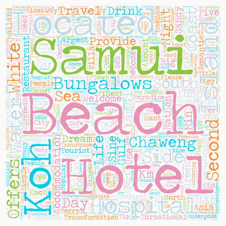 SAMUI ISLAND text background wordcloud concept Ilustração
