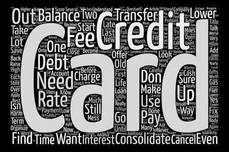 テキストの背景の wordcloud 概念はクレジット カードの借金を整理します。  イラスト・ベクター素材