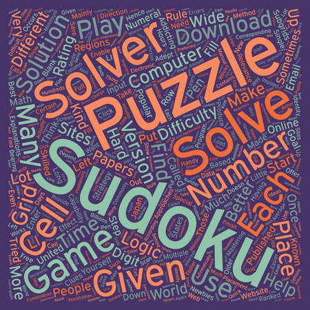 sudoku solvers text background wordcloud concept Ilustração
