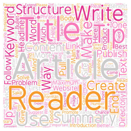 Structure Your Article for Maximum Impact text background wordcloud concept Stock Illustratie
