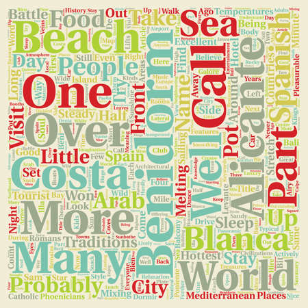 Sunshine In The Soul Of Benidorm Spain text background wordcloud concept Illustration