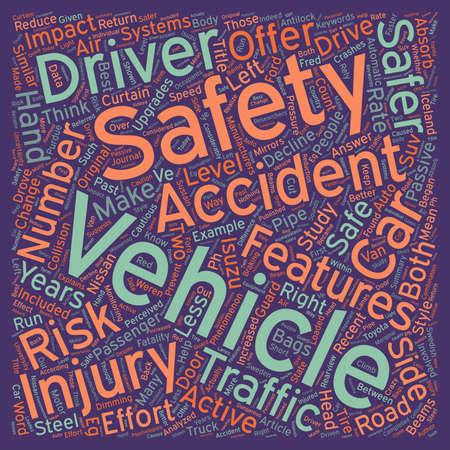 safer: Safe Vehicles Safer Passengers text background wordcloud concept Illustration