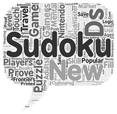 Sudoku On The Go text background wordcloud concept Ilustrace