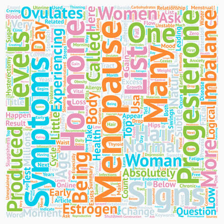 Signs And Symptoms Of Menopause Top 12 Menopause Symptoms text background wordcloud concept
