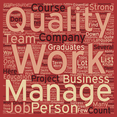 fluency: Seven Qualities to Get a Job You Want text background wordcloud concept