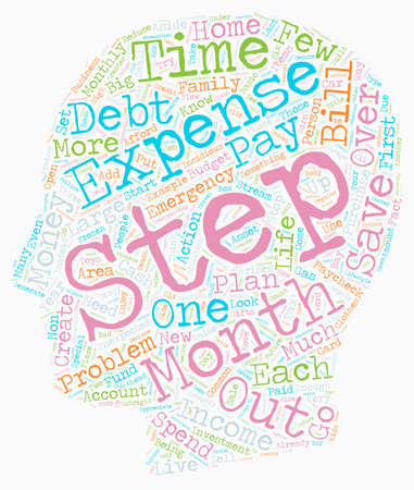 Simple Steps To Get Out Of Debt And Stay Out text background wordcloud concept Ilustração