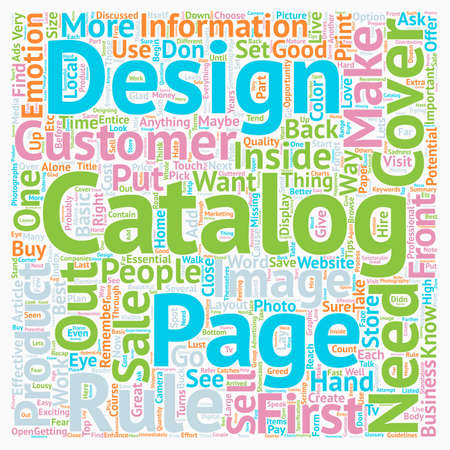 Rules On Good Catalog Design text background wordcloud concept